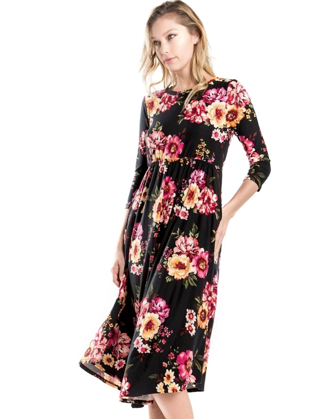 Floral Black Swing Dress with Hidden Pockets | Day Sweven (Women's Sizes)
