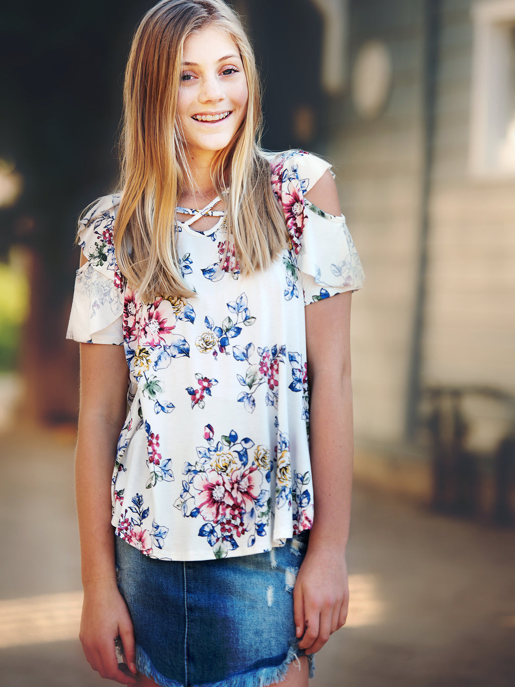 Floral Cold Shoulder Criss Cross Top
