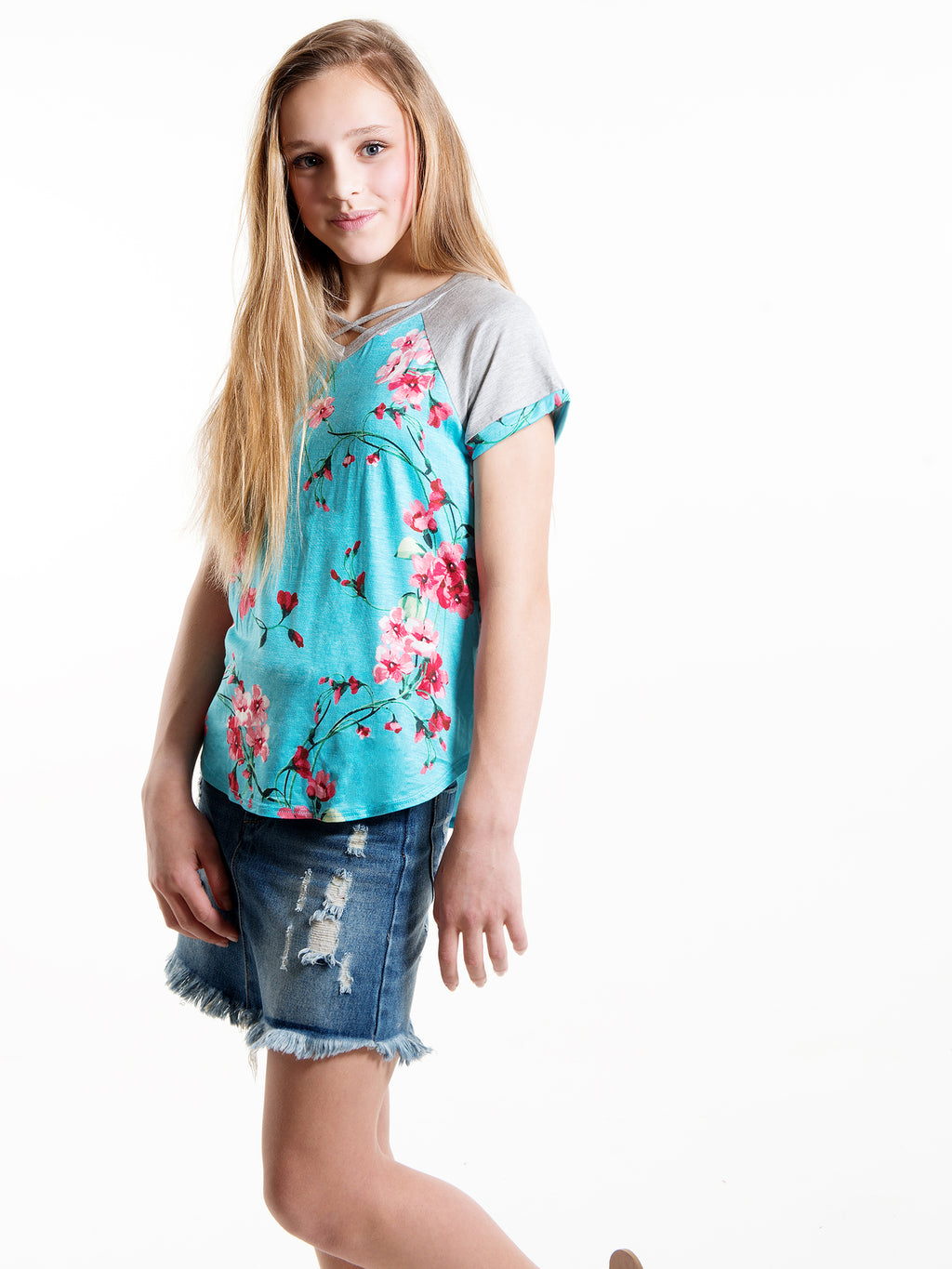 Blossom Criss Cross Raglan Top