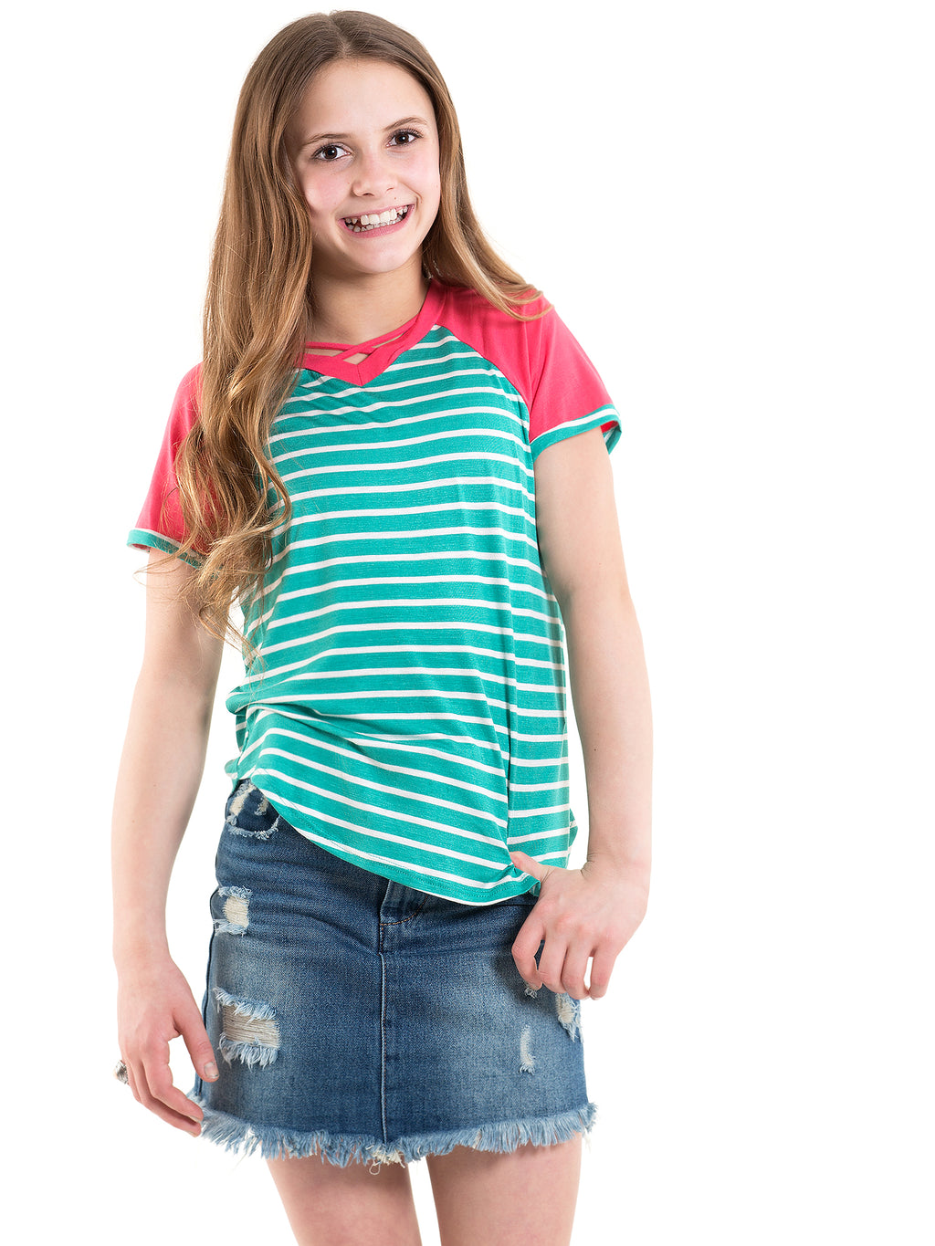 Mint Coral Striped Raglan Top