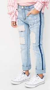 Patchwork Distressed Jeans