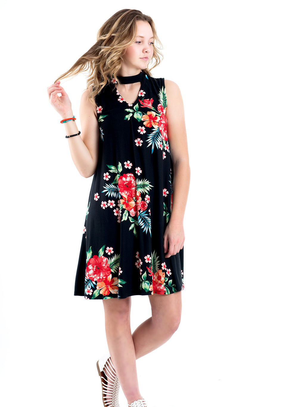 Keyhole Floral Dress