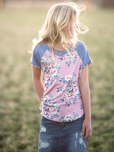 Mauve Floral Criss Cross Raglan Top