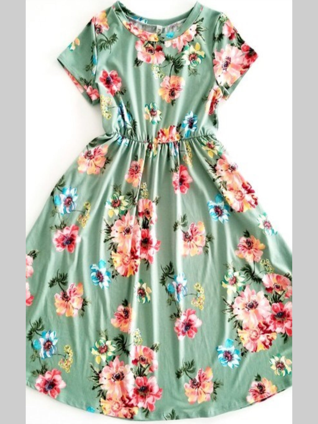 Mint Flower Dress with Pockets
