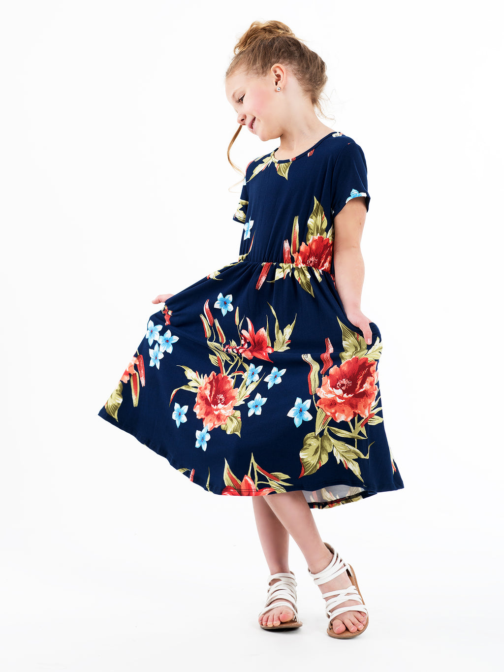 Navy Hibiscus Dress