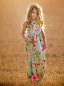 Peach Blossom Maxi Dress with Hidden Pockets