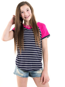 Navy & Fuchsia Striped Raglan Top