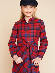 Plaid Button Up Dress with Tie - Red Mix