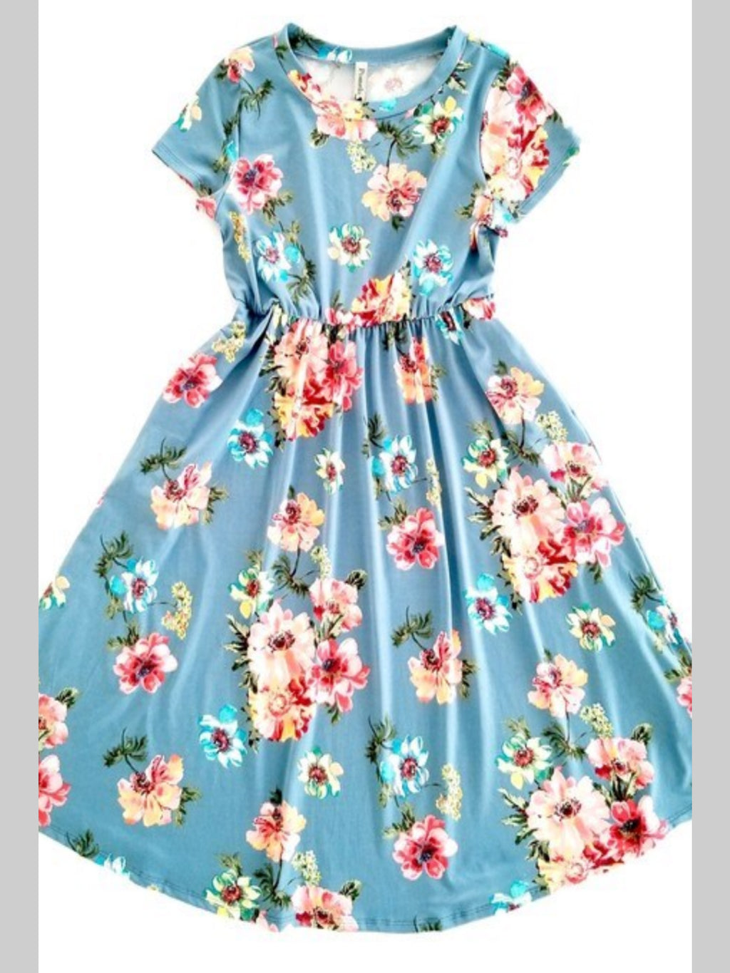 Sky Flower Dress with Pockets