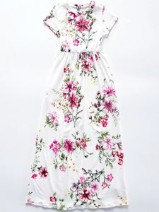 Spring Flower Maxi Dress with Hidden Pockets
