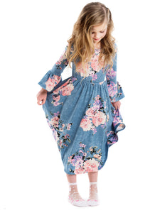 Floral Vintage Washed Pocket Swing Dress