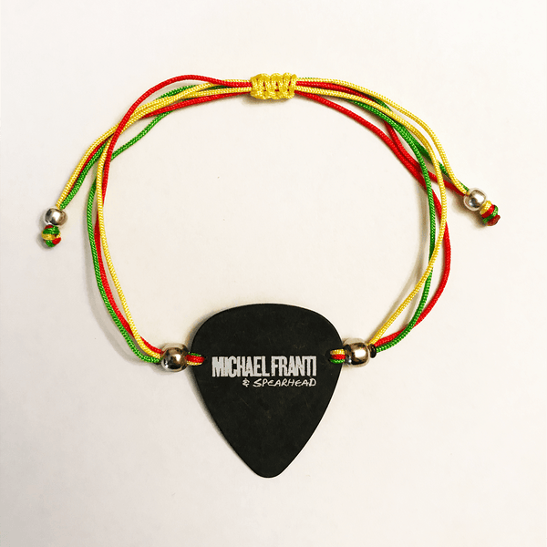 Michael Franti - Nylon Black Guitar Pick Bracelet (Rasta)
