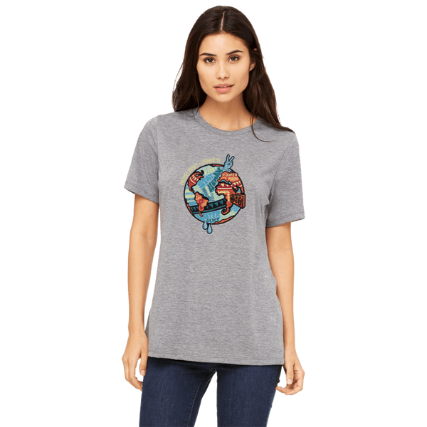 Michael Franti - Grey Globe 2017 Tour Ladies Cut T-Shirt