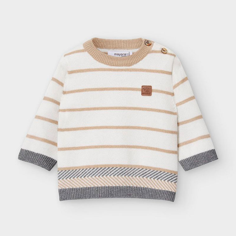 Adrian East online Cream Striped Sweater w/ Grey Pants