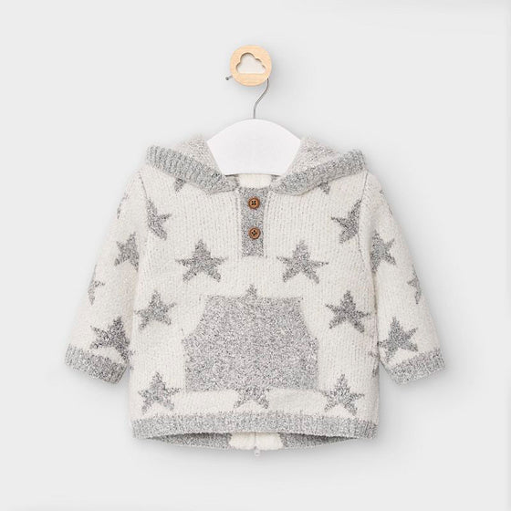 Hooded Knit Star Sweater Jacket