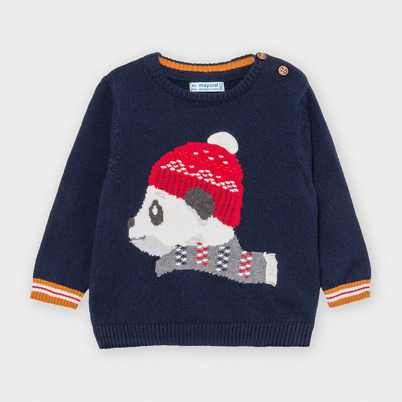 Adrian East online Boy Sweater with Hat-wearing Panda