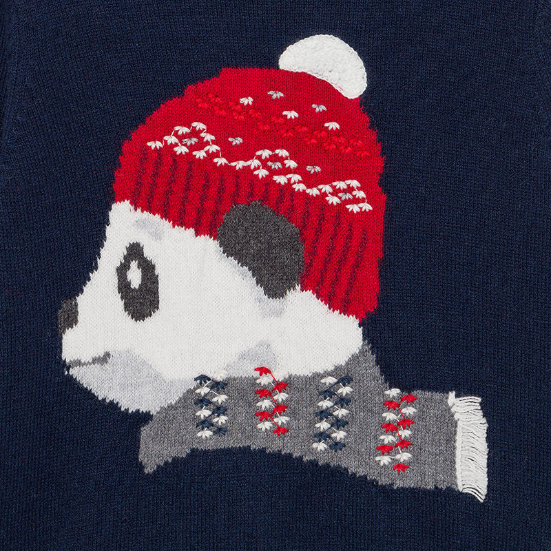 Sweater with Hat-wearing Panda