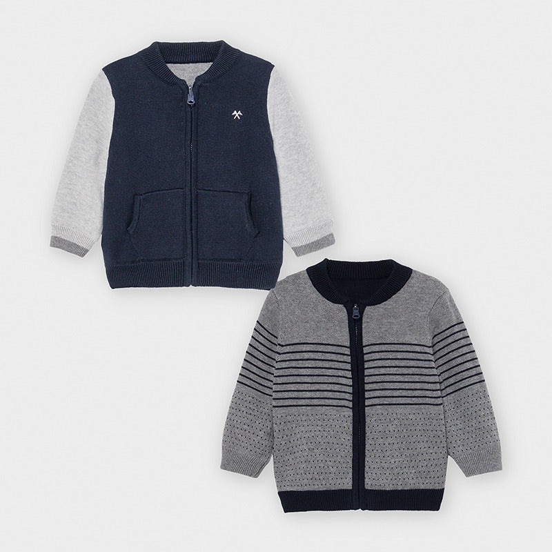 Adrian East online Reversible Navy Sweater w/ Grey Sleeves