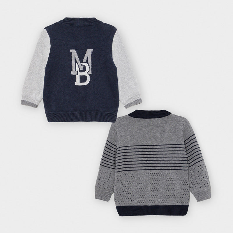 Reversible Navy Sweater w/ Grey Sleeves