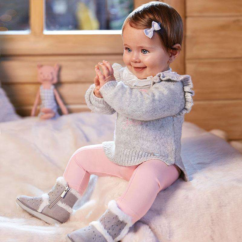 Adrian East online GREY SWEATER WITH SPARKLY PINK BOW DECAL AND MATCHING PINK LEGGINGS