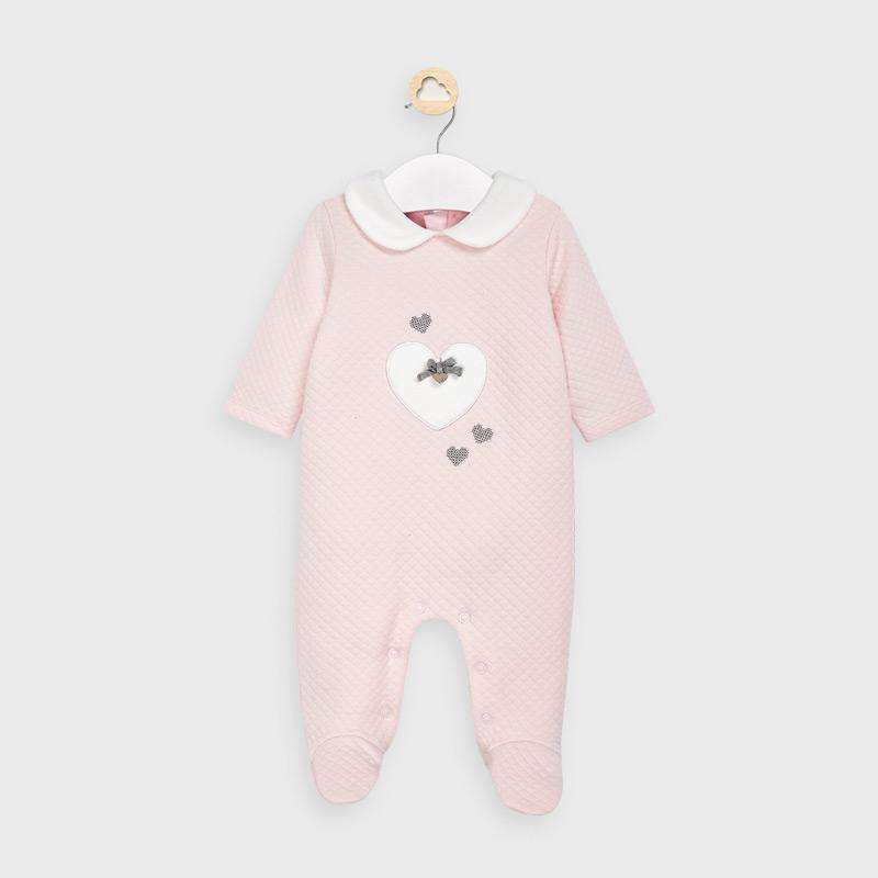 Adrian East online Quilted Pink Onesie w/ White Heart