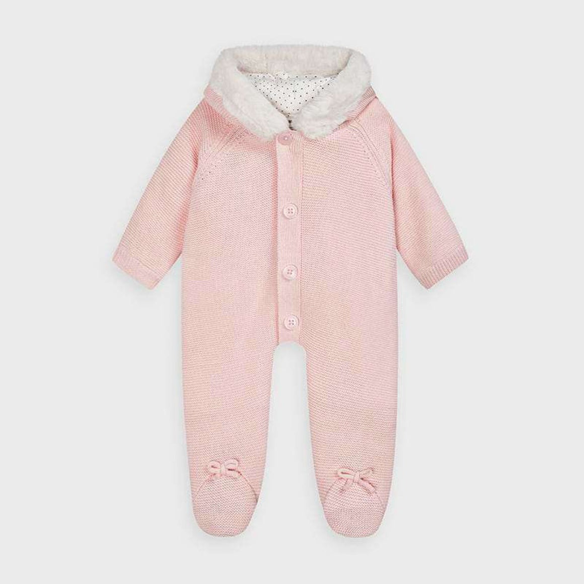 Fur-Lined Knit Snowsuit in Pink