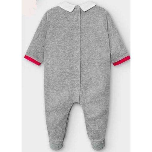 Adrian East online GREY FOOTIE WITH SMALL RED TRAINS