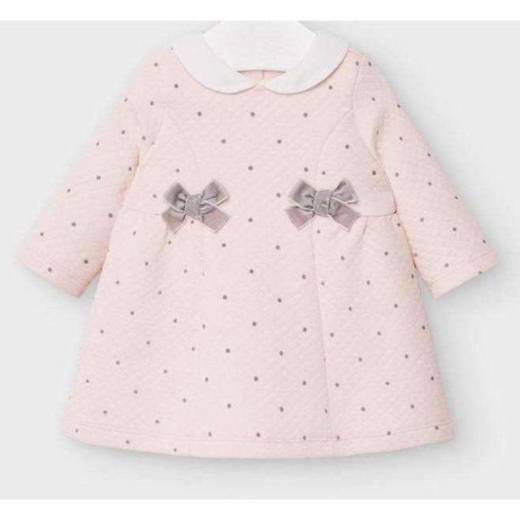 Adrian East online Quilted Pink and Gray Polka Dot Dress