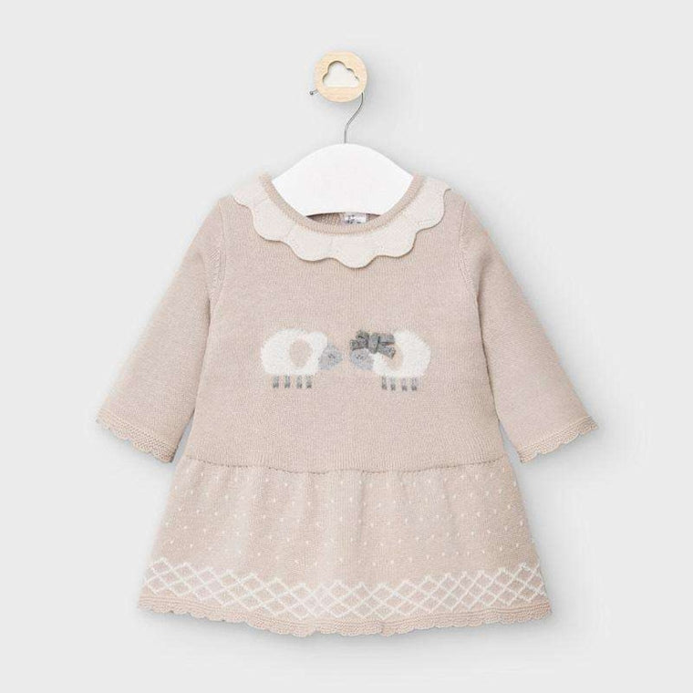 Adrian East online Beige Knit Dress with Sheep