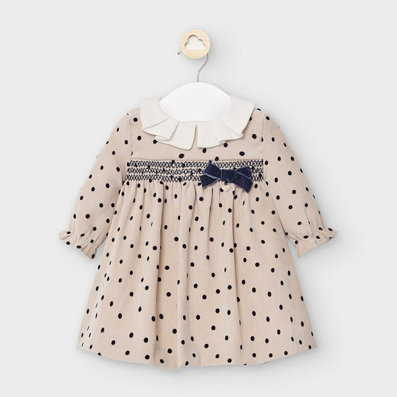 Adrian East online Smocked Polkadot Corduroy Velvet Dress