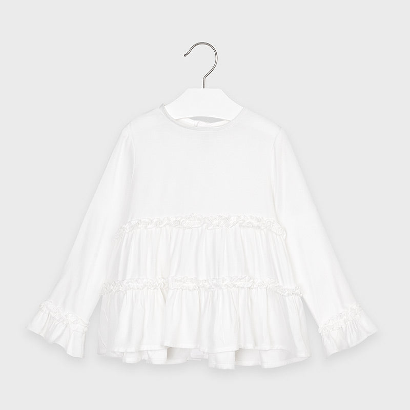 Adrian East online Girls White Tiered blouse with Fur Vest & Leggings