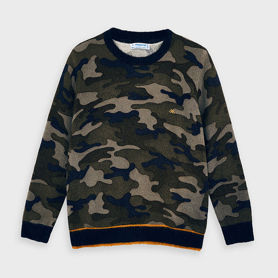 Adrian East online Camouflage Sweater w/ Orange Accent