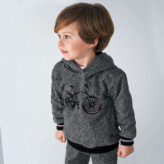 Adrian East online Grey Sweater with Small Black Dot Detail and Bicycle Graphic