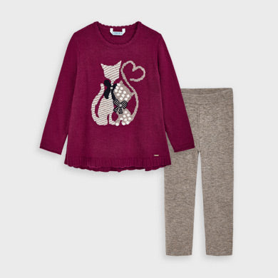 Adrian East online girl Maroon Cat Sweater w/ Leggings