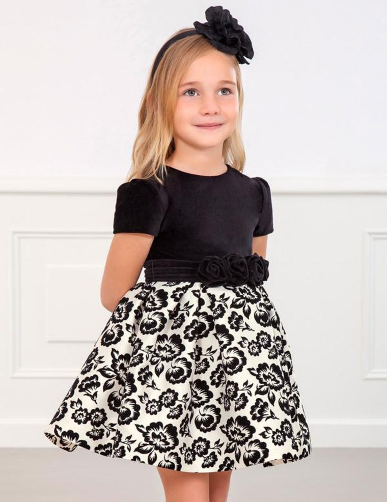 Adrian East Black & White Flower Brocade Dress