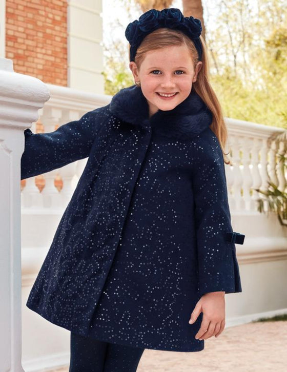 Adrian East online Sequin Navy Coat w/ Fur Collar