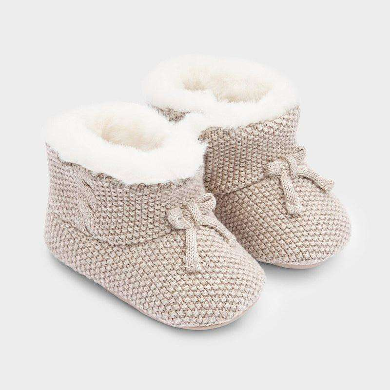 Adrian East online Knit Fur-Lined Beige Booties
