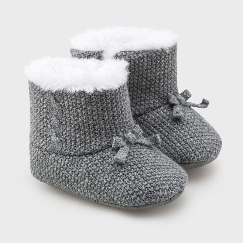 Adrian East online Knit Fur-Lined Gray Booties