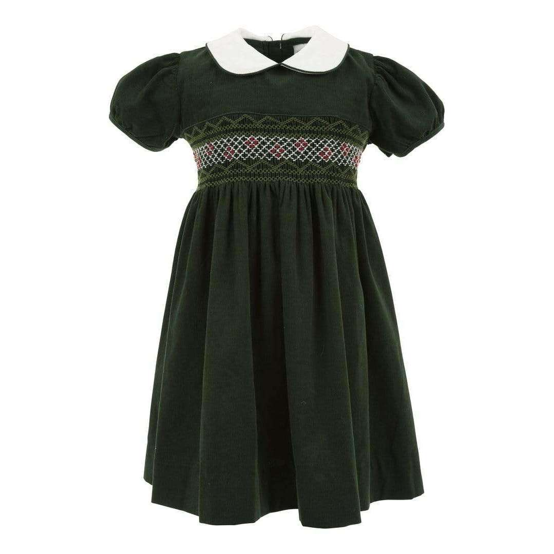 Adrian East online Smocked Green Corduroy Dress