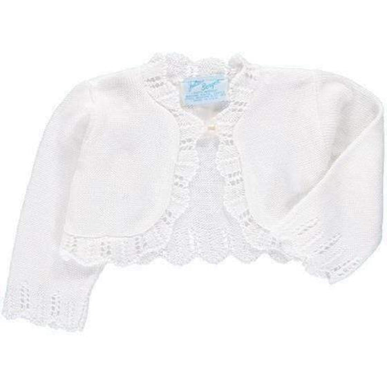 Adrian East online White Lace trimmed bolero sweater