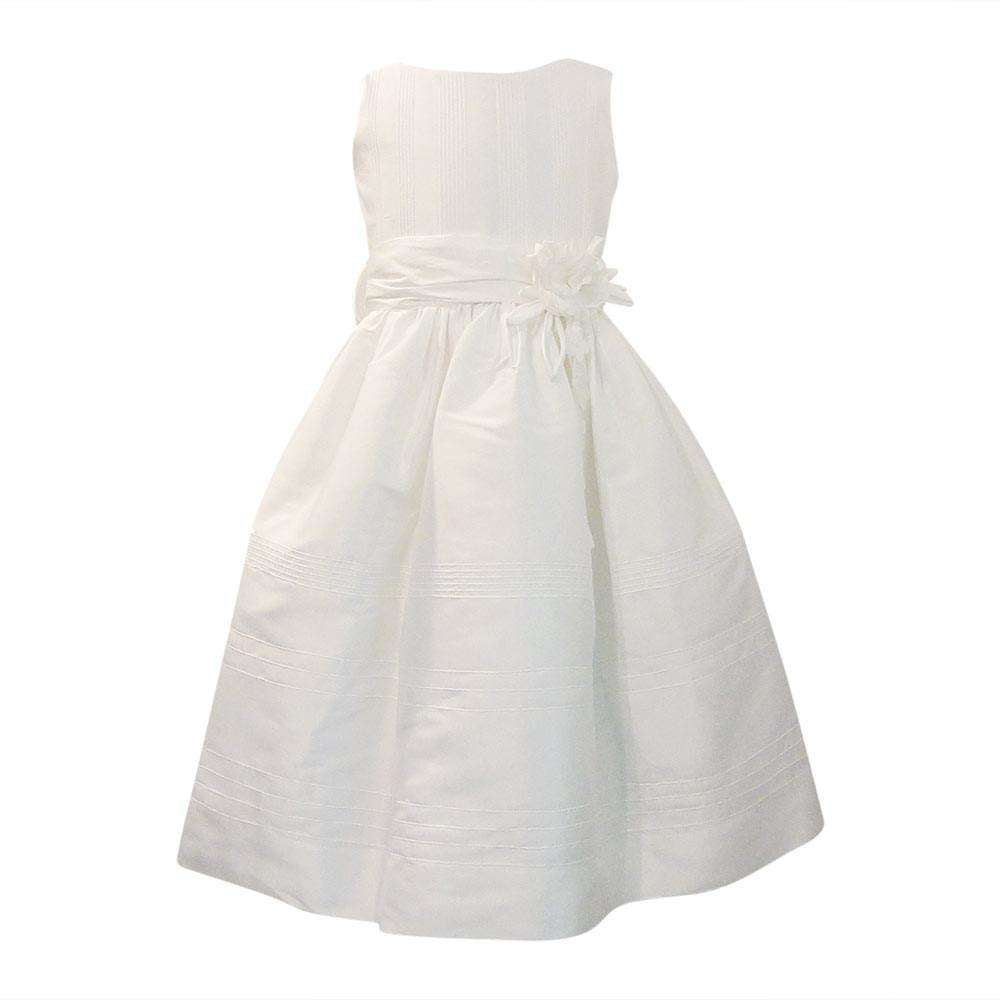 Adrian East Girls Silk Dress With Flower Sash