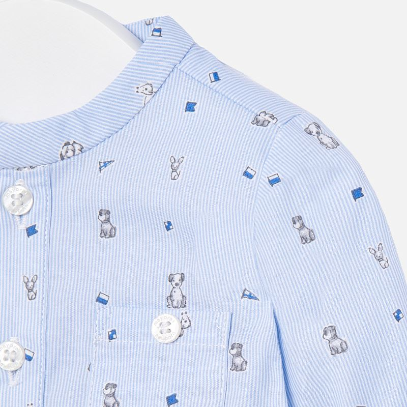 Linen Blue Shirt w/ Dogs and Suspenders