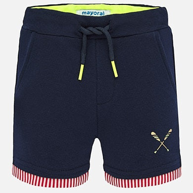 White Rowing Shirt with Navy Shorts