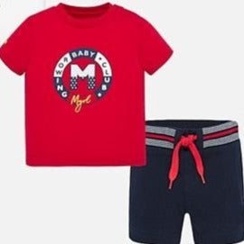 Red Rowing Shirt with Navy Shorts
