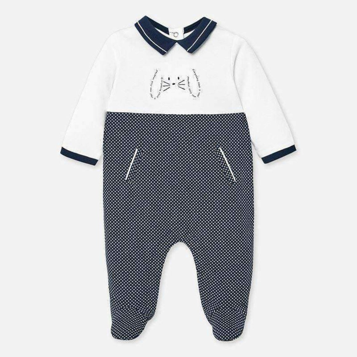Adrian East online Navy Graphic bunny footie