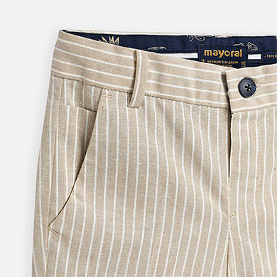 Brown and White Striped Linen Shorts