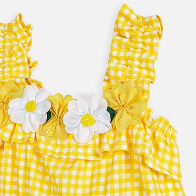 Yellow Gingham Flower 2 pc set