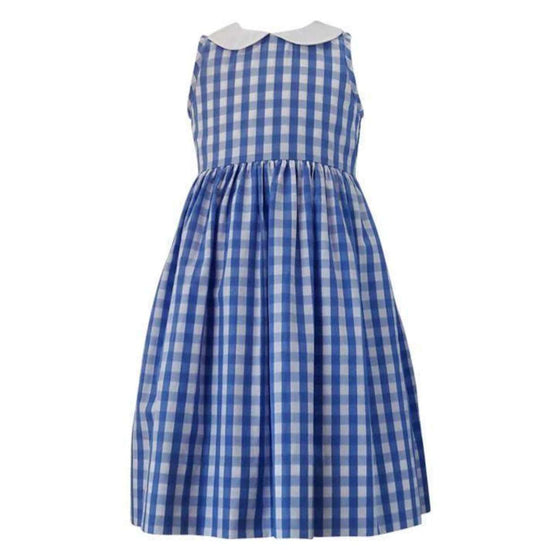 Adrian East Girls Royal Blue Gingham Dress