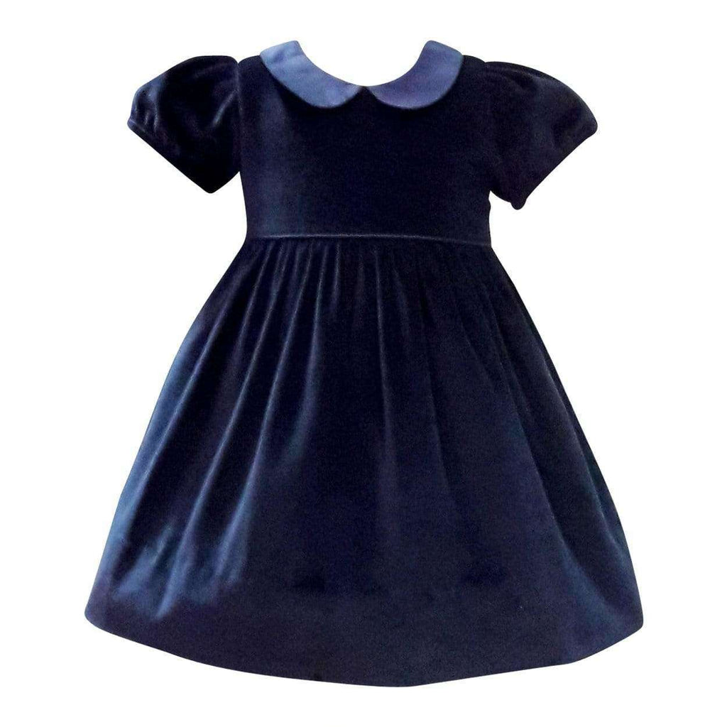 Adrian East online Rich Navy Velvet Dress with Silk Collar