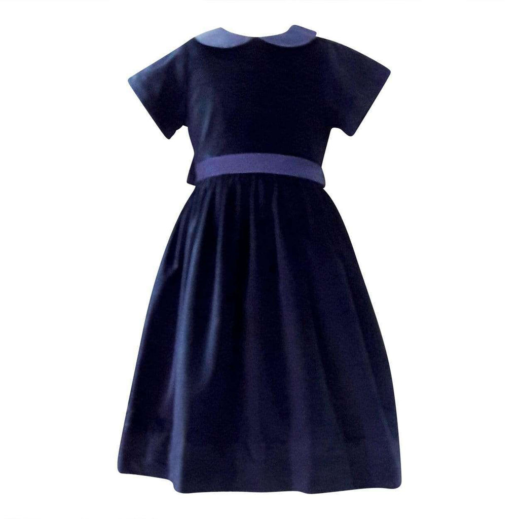 Adrian East online Navy Velvet Dress with Silk Collar